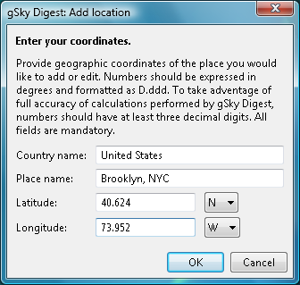 gSky Digest custom location